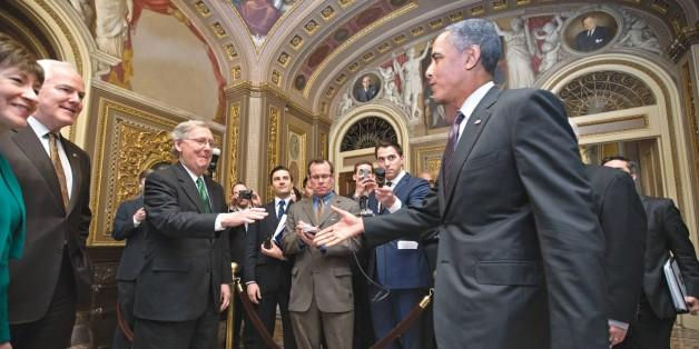 Reaching out: Obama meets with GOP senators in March. (AP Photo/J. Scott Applewhite)