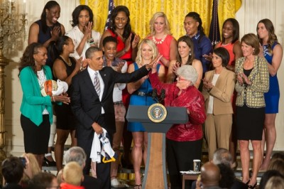President Barack Obama welcomes the WNBA Champion Indiana Fever to the East Room of the White House to honor the team and their victory in the WNBA Finals, June 14, 2013. (Official White House Photo by Chuck Kennedy)