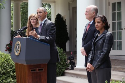 U.S. President Barack Obama speaks as former aide Samantha Power (L), U.S. Ambassador to the United Nations Susan Rice (R) and incumbent National Security Adviser Tom Donilon (2L) listen during a personnel announcement at the Rose Garden of the White House June 5, 2013 in Washington, DC. President Obama has nominated Rice to succeed Donilon to become the next National Security Adviser. Obama has also nominated Power to succeed Rice for her position to the UN. (Photo: Alex Wong/Getty Images)