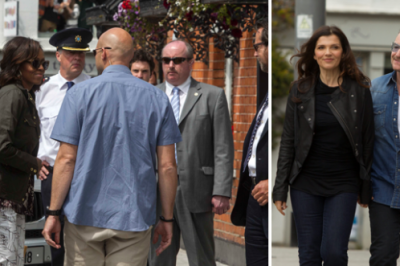 Michelle Obama arrives for lunch at Finnegans pub in Dalkey with Bono and Ali Hewson, also pictured arriving.