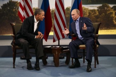 President Obama meets with Russian President Vladimir Putin during the G8 Summit at Lough Erne in Enniskillen.