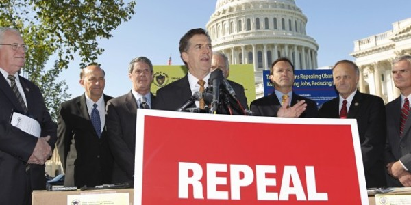 Then-Sen. Jim DeMint, R-SC, joins other conservative lawmakers to criticize Obamacare during a 2011 news conference on Capitol Hill in Washington. (AP Photo/J. Scott Applewhite)
