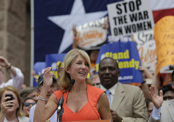 Texas state Sen. Wendy Davis at an abortion-rights rally in Austin on Monday. Credit Eric Gay / AP