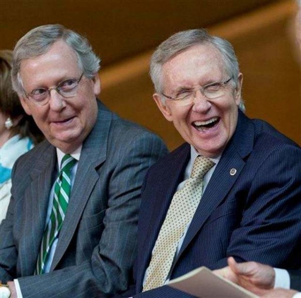 Sen. Mitch McConnell, left, and Sen. Harry Reid in a more collegial moment this year in Washington. | AP Photo