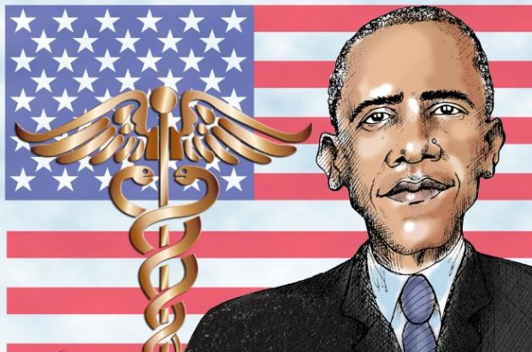 This artwork relates to the Affordable Health Care Act, also known as Obamacare. | Jennifer Kohnke, Tribune Media Services