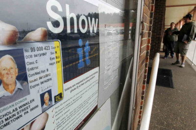 Before the voter ID law was put on hold, this Penndot Drivers License Center in Butler, Pa., displayed signs promoting the requirement for voters to show an acceptable phoo ID at the polls. | Keith Srakocic/AP
