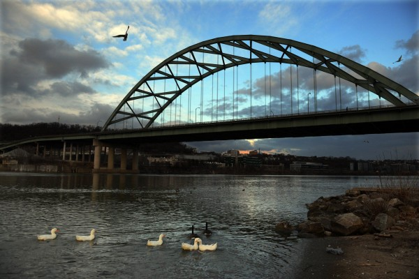 The Birmingham Bridge over the Monongahela River is a large span slated for major rehabilitation in the next few years. PennDOT plans to work on smaller bridges first, beginning in 2015. | Bill Wade/Post-Gazette
