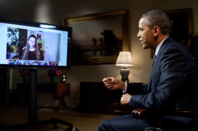 President Barack Obama participates in an interview with YouTube and Google+ on Jan. 30, 2012.