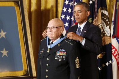 Army Command Sergeant Major Bennie G. Adkins receives the Medal of Honor from President Obama on September 15, 2014.
