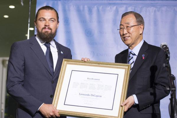United Nations Messenger of Peace, Leonardo DiCaprio and UN Secretary-General Ban Ki-moon