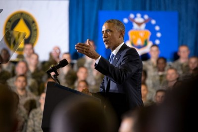 Obama delivers remarks at the Short Fitness Center, U.S. Central Command at MacDill Air Force Base in Tampa, Fla.