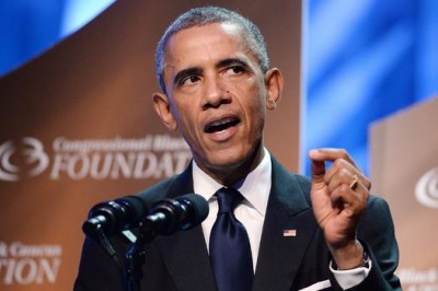 President Obama speaks to the Congressional Black Caucus Foundation Annual Phoenix Awards dinner September 27, 2014