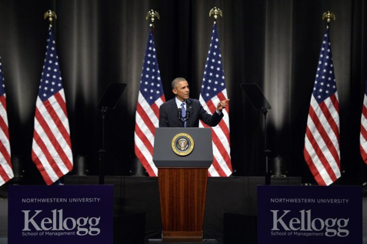 President Barack Obama remarks at Cahn Auditorium at Northwestern University