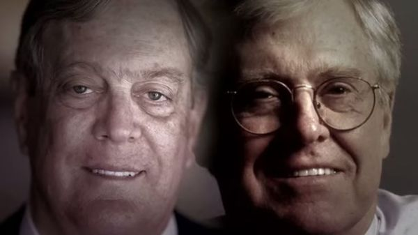 David and Charles Koch (Photo: Screenshot from The Koch Brothers Exposed film).