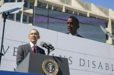 President Barack Obama delivers remarks during the dedication ceremony of the American Veterans Disabled for Life Memorial in Washington, D.C.