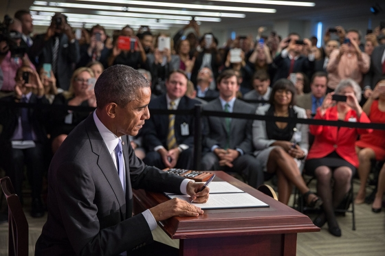 President Barack Obama signs an Executive Order to provide consumers with more tools to secure their financial future by assisting victims of identity theft, improving the Government's payment security as a customer and a provider, and accelerating the transition to stronger security technologies and the development of next-generation payment security tools