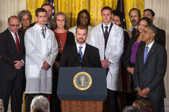 President Barack Obama delivers remarks during an event with American health care workers fighting Ebola