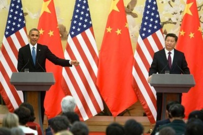 image of President Barack Obama and President Xi Jinping of China holding a press conference at the Great Hall of the People in Beijing, China, Nov. 12, 2014