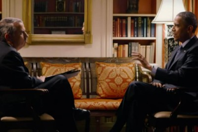 "image of President Obama speaking about climate science with New York Times columnist Thomas Friedman on the Showtime documentary series ""Years of Living Dangerously."" 