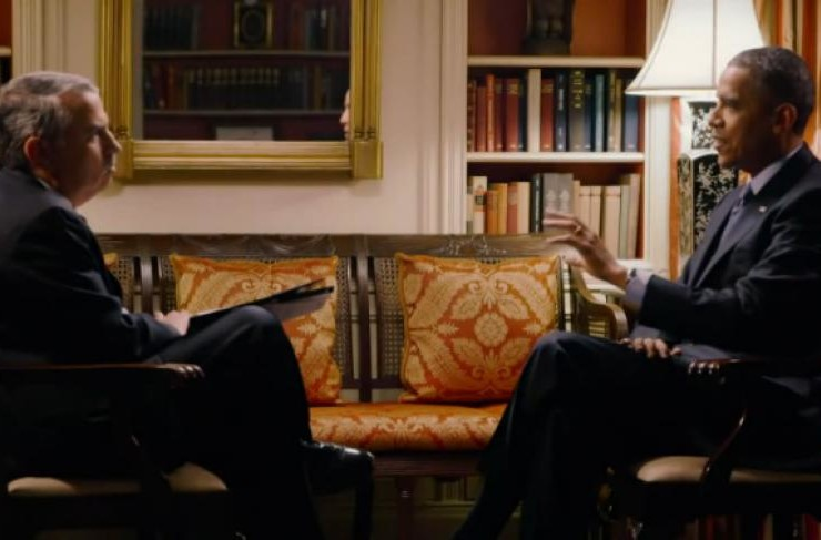 """image of President Obama speaking about climate science with New York Times columnist Thomas Friedman on the Showtime documentary series """"Years of Living Dangerously."""" 