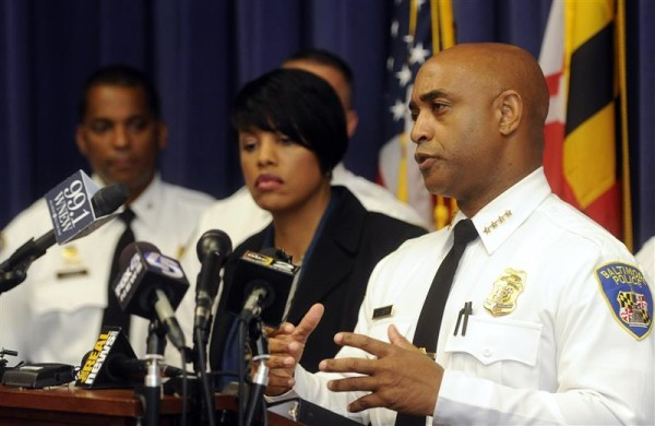 image of Baltimore Mayor Stephanie Rawlings-Blake, left, and Police Commissioner Anthony W. Batts, right, discuss an upcoming federal review of the police department.