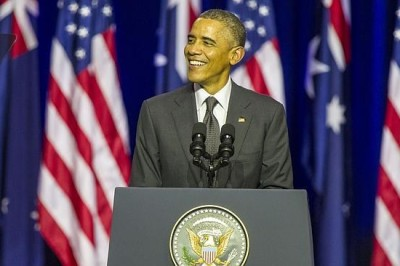 image of Barack Obama's address at the University of Queensland went down well with those in attendance, particularly declarations about climate change.