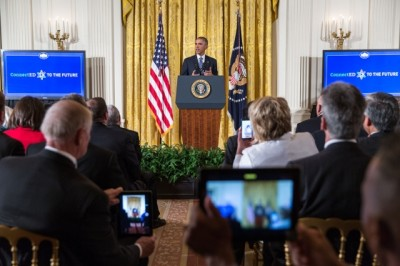 "Barack Obama delivers remarks during the ""ConnectED to the Future"" conference with superintendents and other educators from across the country who are leading their schools and districts in the transition to digital learning,"