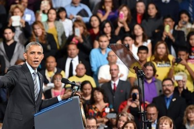 Barack Obama speaks about his executive action on immigration policy at Del Sol High School in Las Vegas on November 21, 2014.
