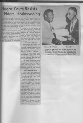 image of 1958 story in the Cleveland Plain Dealer almost got Amos Brown kicked out of high school.