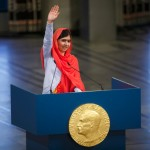 Nobel Peace Laureate Malala Yousafzai gives a speech during an awards ceremony at City Hall in Oslo, Norway