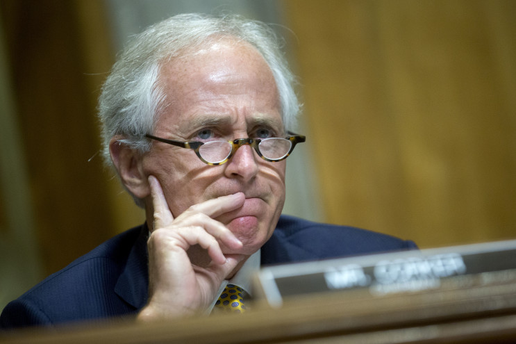 Sen. Bob Corker (R-Tenn.) chairman of the Senate Foreign Relations Committee, attends a hearing on the Iran nuclear agreement, which is widely opposed among Republicans. | Andrew Harrer/Bloomberg News)