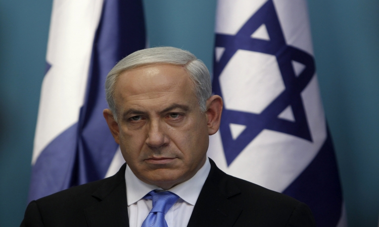 Israel's Prime Minister Benjamin Netanyahu attends a weekly cabinet meeting in his office in Jerusalem