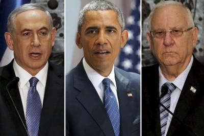 Israeli President Reuven Rivlin, US President Barack Obama and Israeli Prime Minister Benjamin Netanyahu