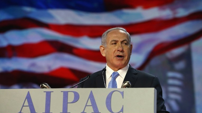 File- Prime Minister Benjamin Netanyahu speaks during the American Israel Public Affairs Committee (AIPAC) 2015