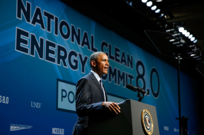President Barack Obama delivers the keynote address at the National Clean Energy Summit 8.0 at the Mandalay Bay Convention Center on August 24, 2015 in Las Vegas, Nevada.