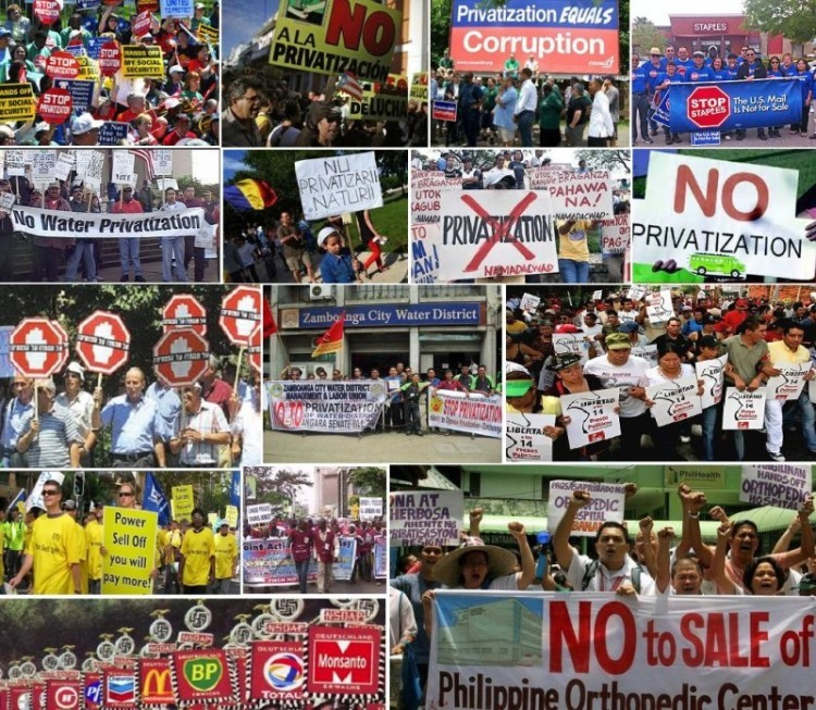 Demonstrators around the world are protesting against the privatization of public assets.