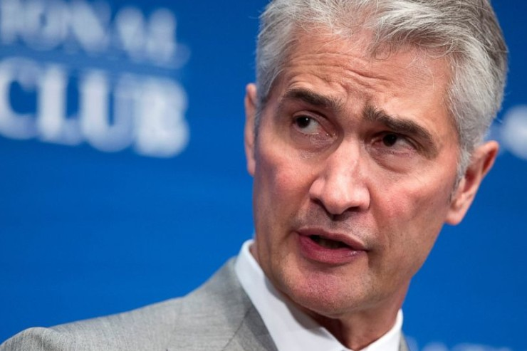 FILE - In this May 15, 2015, file photo, United Airlines Chairman, President and Chief Executive Officer Jeff Smisek, speaks during a panel discussion on unfair international competition at the National Press Club in Washington. United Airlines said Tuesday, Sept. 8, 2015, that Smisek has stepped down as CEO, chairman and president effective immediately and has named Oscar Munoz as president and chief executive officer. | AP Photo/Manuel Balce Ceneta