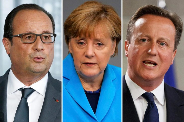 French President Francois Hollande, German Chancellor Angela Merkel, British Prime Minister David Cameron.